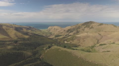 Mountain Greenery Aerial Footage, Akaroa - stock footage
