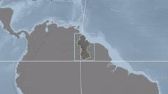 Guyana - 3D tube zoom (Kavrayskiy VII projection) Stock Footage