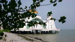 The Straits Mosque (Masjid Selat) at Malacca, Malaysia. Slide Down Stock Footage