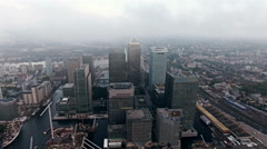 4K Canary Wharf Towers and Buildings in London Overhead Aerial Shot - stock footage