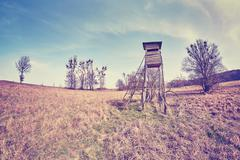Fisheye lens photo of a hunting pulpit. - stock photo