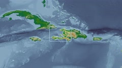 Haiti - 3D tube zoom (Mollweide projection). Bumps shaded Stock Footage