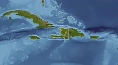 Haiti - 3D tube zoom (Mollweide projection). Satellite - stock footage