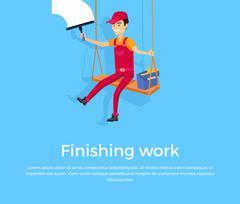 Finishing Work Design Banner Concept - stock illustration