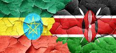 Ethiopia flag with Kenya flag on a grunge cracked wall Stock Illustration