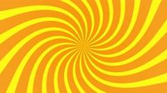 Radial swirl rising sun vortex motion background loop orange Stock Footage