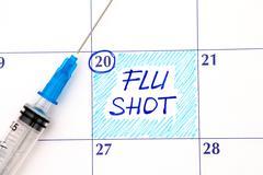 Reminder Flu Shot in calendar with syringe Stock Photos