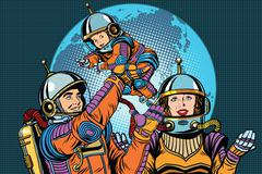 Retro astronauts family dad mom and child Stock Illustration