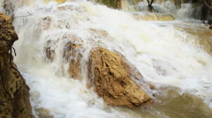 Waterfall in Luang prabang is Guangxi Waterfall over the turbid water-slow Stock Footage