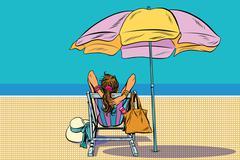 Girl in a deckchair on the beach - stock illustration
