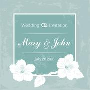 Marriage design template with custom names in square frame  flowers. Vector - stock illustration