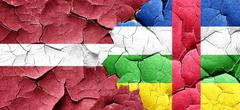 Latvia flag with Central African Republic flag on a grunge crack - stock illustration
