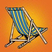 Deck chair striped blue beach lounger Stock Illustration