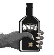 Gorilla Hand with bottle - stock illustration