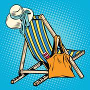Deck chair with beach things women Stock Illustration