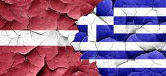 Latvia flag with Greece flag on a grunge cracked wall - stock illustration