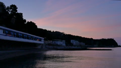 Night beach. Sea at dawn - stock footage