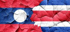 Laos flag with Costa Rica flag on a grunge cracked wall Stock Illustration