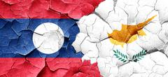 Laos flag with Cyprus flag on a grunge cracked wall Stock Illustration