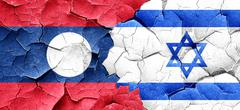 Laos flag with Israel flag on a grunge cracked wall Stock Illustration