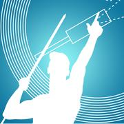 Composite image of low angle view of sportsman practising javelin throw - stock illustration