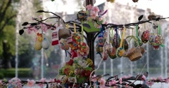 Easter Decorated Tree With Fountain on the Background - stock footage