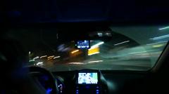 Night driving Timelapse, Inside windshield, Busan in Korea - stock footage