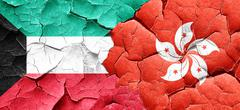 Kuwait flag with Hong Kong flag on a grunge cracked wall - stock illustration