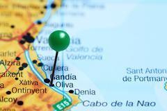 Oliva pinned on a map of Spain - stock photo