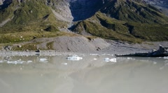 Spectacular View Of Hooker Glacier Terminal Lake And Aoraki Mount Cook Pan Up Stock Footage