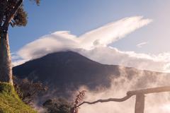 Tungurahua Volcano Erupting In The Sunset Kuvituskuvat