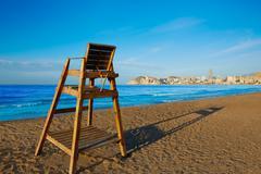 Benidorm Poniente beach watchtower seat Alicante - stock photo