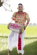 Portrait of Bihu man playing on a dhol Stock Photos