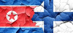 North Korea flag with Finland flag on a grunge cracked wall - stock illustration