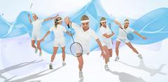 Composite image of badminton player playing badminton against design backgrou - stock photo