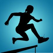 Sporty woman jumping a hurdle against blue vignette background - stock illustration