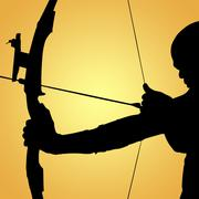 Side view of sportsman practising archery  against yellow vignette Piirros