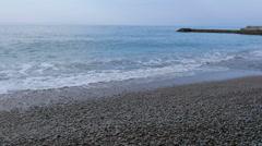 Waves washes pebble beach, the Black Sea, Crimea, Russia - stock footage