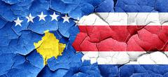 Kosovo flag with Costa Rica flag on a grunge cracked wall Stock Illustration