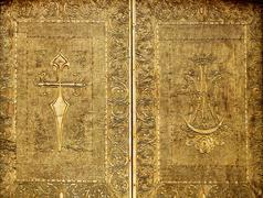 Benidorm church golden door embossed brass - stock photo