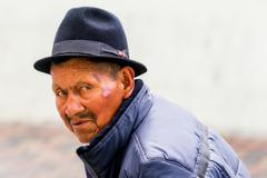 Portrait Of An Old Indigenous Man - stock photo