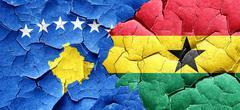 Kosovo flag with Ghana flag on a grunge cracked wall - stock illustration
