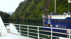 Pan Left Scenic View Onboard Of Cruise Ship At Milford Sound - stock footage