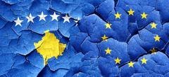 Kosovo flag with european union flag on a grunge cracked wall Stock Illustration