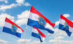 Flags of Federal Subjects of Russia. Flags of Samara region fluttering agains Stock Photos
