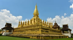 Time lapse - The iconic Pha That Luang Stupa in Vientiane, Laos. Stock Footage