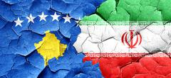 Kosovo flag with Iran flag on a grunge cracked wall - stock illustration
