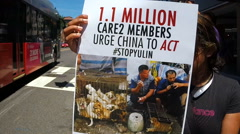 Protest against eating dog meat - stock footage