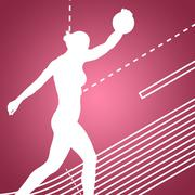 Side view of sporty woman preparing her discus throw against red vignette - stock illustration