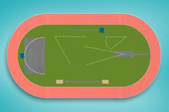 Composite image of an athletics field plan Stock Illustration
